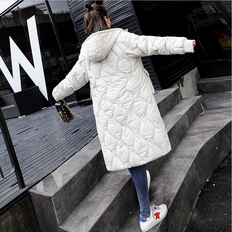 Women Winter Mid-Long Jackets 2019 New Thick Warm Add Cotton   Parkas   Fashion Slim Hooded Casual Coats Plus Size Windproof Padded