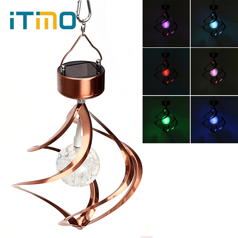 iTimo Solar Powered Wind Chimes Stainless Steel Wind Spinner RGB Color Changing Crystal Ball Solar Galaxy Light NoveltyiTimo Solar Powered Wind Chimes Stainless Steel Wind Spinner RGB Color Changing Crystal Ball Solar Galaxy Light Novelty