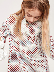 Image 4 - Balabala Girls Ruffled Collar Dress with Flare Hem with Bow Tie at Neck Teenager Girls Patterned Dress Spring Autumn Dresses