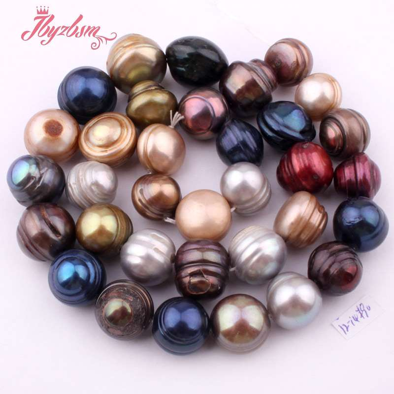 цена 12-14mm Nearround Multicolor Freshwater Pearl Beads Natural Stone Beads For DIY Necklace Jewelry Making Loose 15