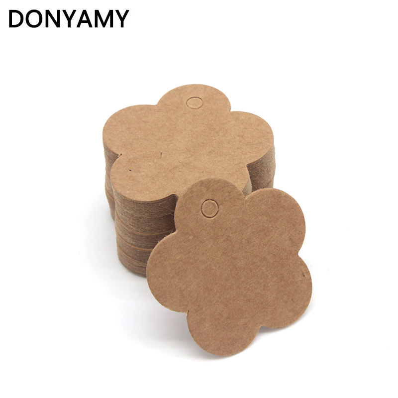 DONYAMY 500pcs 4cm Cinquefoil Label Paper Tag Gift Hang Card Price Blank Karft Luggage Wedding Party