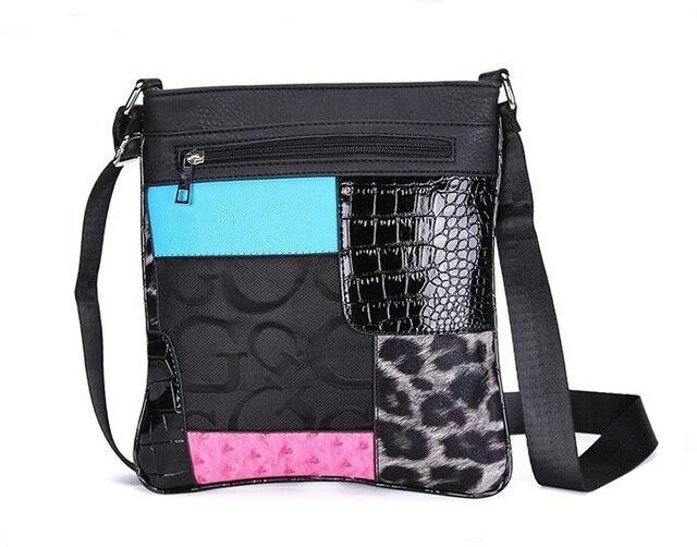 2017 Women Messenger Bags Ladies Floral Print Leopard Bag Small Black Crossbody Bag Female Patchwork Flap Bags Femmes Sacs C060