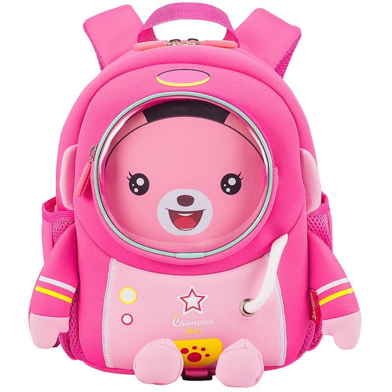 3D Pink Bear School Bags For Girls Kids Cartoon Schoolbag Waterproof Children Robot School Backpack Boy Kids Mochila Escolar