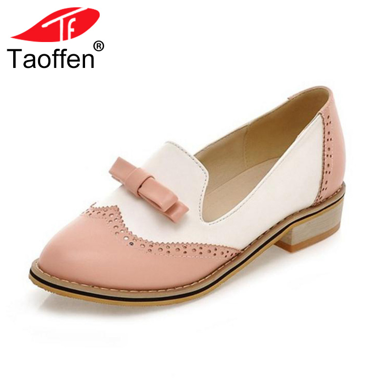 TAOFFEN Women Low Heel Shoes Women's Square Heels Shoes Ladies Bow Leisure Pumps Ladies Shoes Heeled Footwear Size 33-43 women backpack 2016 solid corduroy backpack simple tote backpack school bags for teenager girls students shoulder bag travel bag