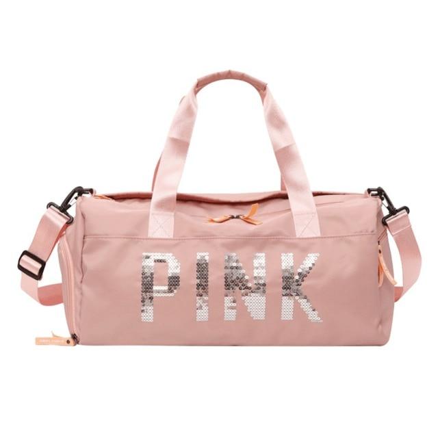 dc54532b5890 Women Sequins Nylon Sport Gym Handbag Fitness Travel Luggage Bag Large  Capacity Girls Shoulder Crossbody Messenger Yoga Mat Bag