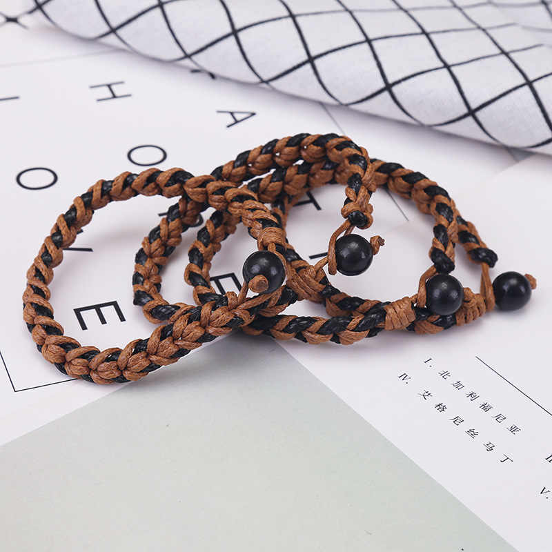Pulsera trenzada de cuerda de cáñamo para Mujeres Hombres Simple DIY hecho a mano pulseras tejidas brazaletes con cuentas de madera Mejores Regalos de amigos