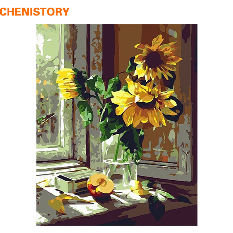 CHENISTORY Fleur Sur La Fenêtre BRICOLAGE Peinture Sur Toile Peinture Par Numéros Avec Encadrée Acrylique Peinture Kit Peinture À L'huile La Maison décor