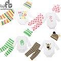 Retail 1-4años 3 unids/set 4 patrones de Manga Larga t shirt + pants + sombreros Del Bebé Infantil de la historieta monos niños chicas del mono de Ropa