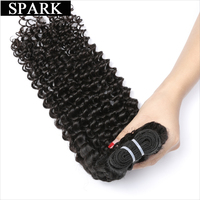 Spark Brazilian Kinky Curly Virgin Hair 1 Bundle Unprocessed 100 Human Hair Weave Double Weft Extensions