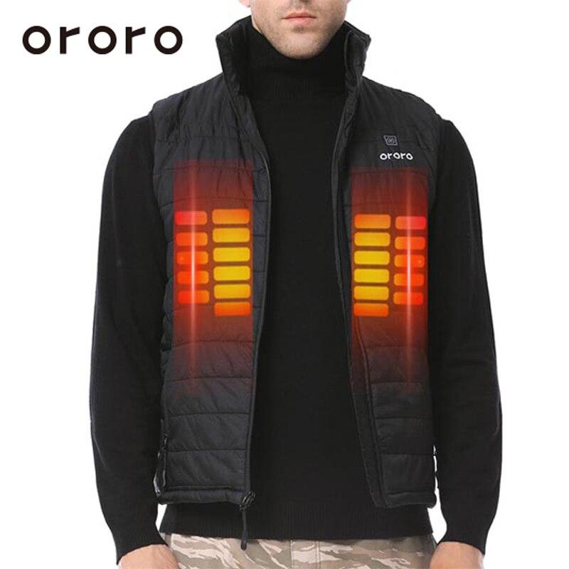 ORORO Mens Heated Vest Electric Battery Up to 8h Warm Coat Sleevless Jacket Black Windbreak Waterproof