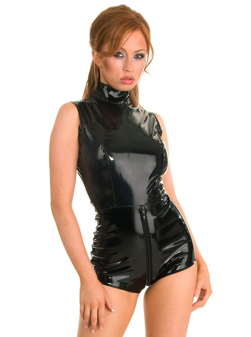 Sexy Women Wet Look PVC Erotic Lingerie Black Bodysuit Front Zipper Crotch Costume