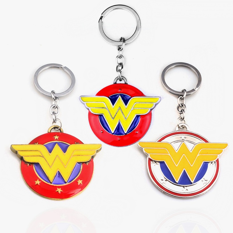 DC Anime Wonder Woman W Logo Keychain Colourful Enamel Metal Keyring For Women Men Gifts Car Keychain Jewelry Dropshipping