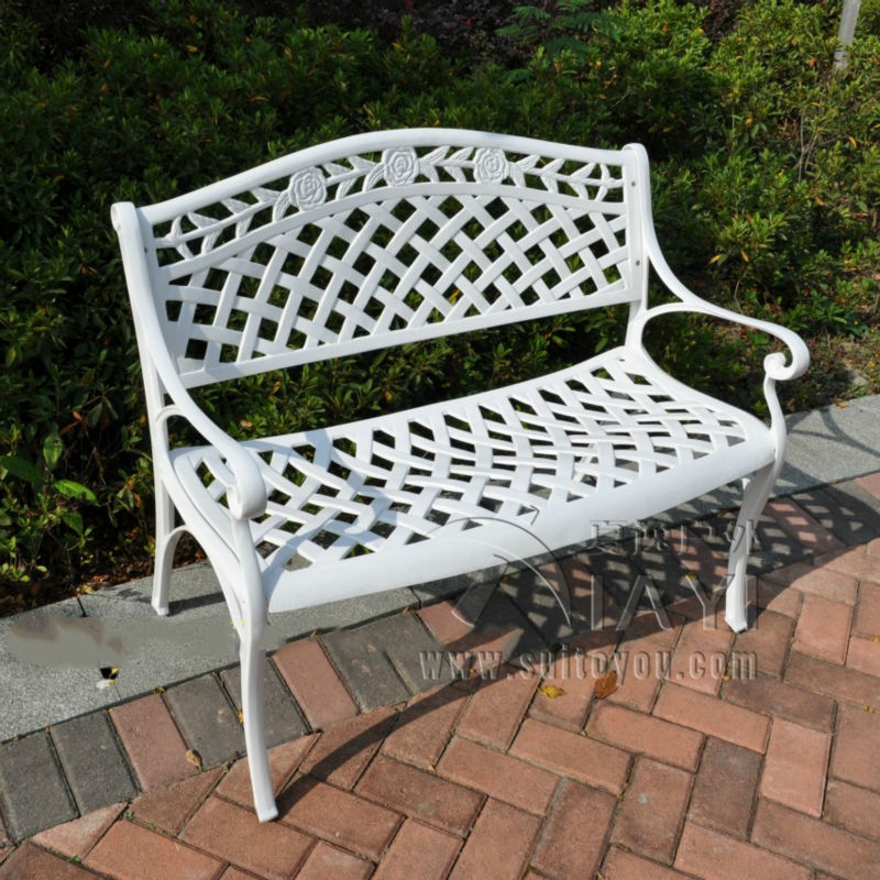 2 Seater Cast Aluminum Luxury Durable Park Chair Garden Bench White Bronze