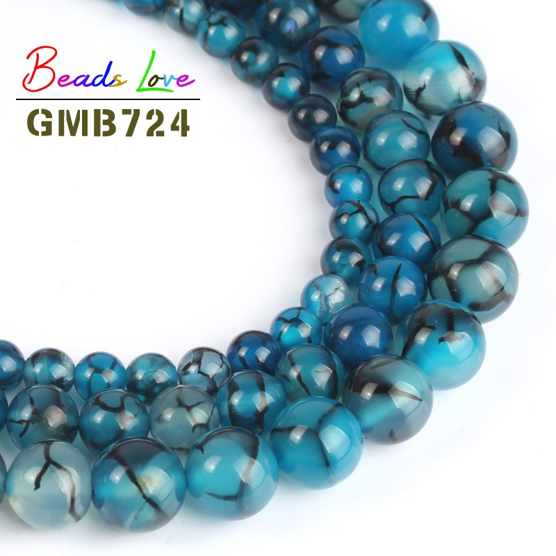 Natural Stone Blue Black Line Dragon Veins Agat Round Beads for Jewellery Making 6/8/10 mm 15