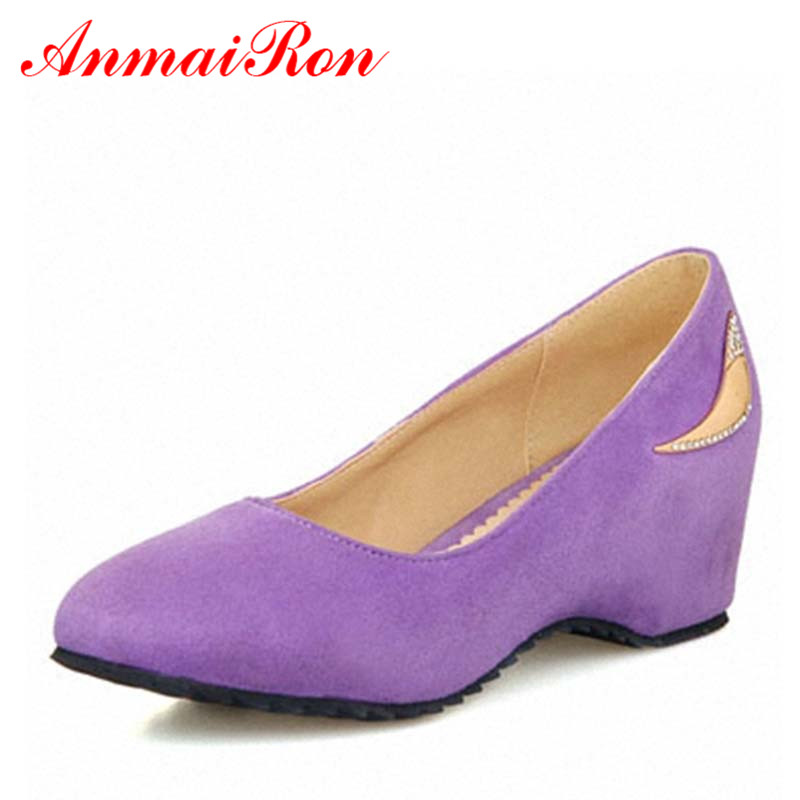 ANMAIRON Spring Autumn Round Toe High Heels Wedges Shoes for Women Pointed Pumps Women Big Size 34 47 Casual Wedding Shoes plus size 34 49 new spring summer women wedges shoes pointed toe work shoes women pumps high heels ladies casual dress pumps