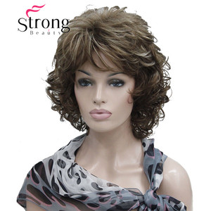 Image 4 - StrongBeauty Short Soft Shaggy Layered Full Synthetic Wig Brown Highlights Curly Womens Synthetic Wigs