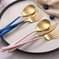 Camping Portable Rose Gold Tableware Set Kitchen Travel Cutlery Silverware Set Black Spoon Forks Knives Spoons Dinnerware CJ5