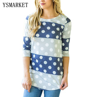 New Womens Casual Three Quarter Sleeve Blouse Striped Floral Solid Polka Dot Shirts Comfortable Cotton Tops