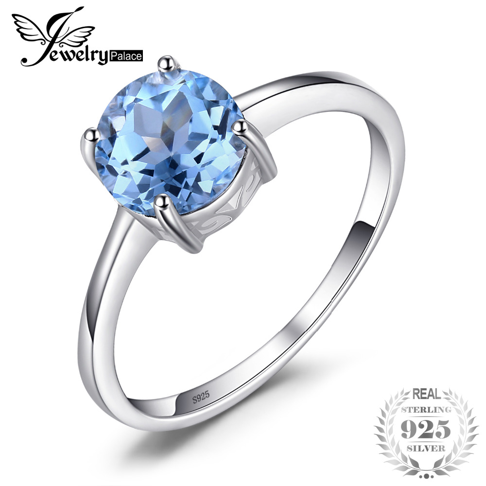 JewelryPalace Round 1.6ct Natural Sky Blue Topaz Birthstone Solitaire Anillo Genuino 925 Joyas de Plata Para Mujeres