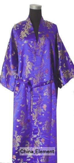 Venda quente Azul Robe De Cetim De Poliéster dos homens Chineses Do Dragão phenix Kimono Bath Vestido TAMANHO S M L XL XXL 3XL LDF-6