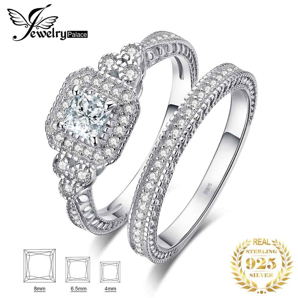 JewelryPalace Princess Cut 1ct Cubic Zirconia Promise Rings 925 Sterling Silver Wedding Bands Engagement Rings Bridal Sets