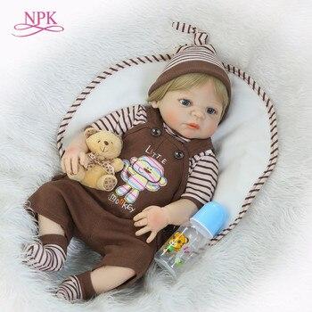 NPK realistyczne Reborn lalki dla dzieci 46 CM niemowląt lalki pełne winylu ciało tak naprawdę chłopiec modelu lalki dla maluch bebe zabawki na prezenty dla dzieci