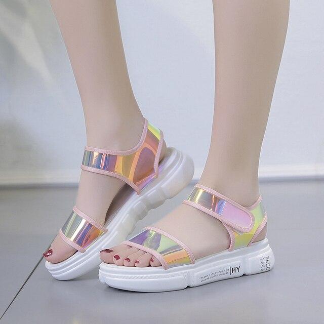 Rimocy plana saltos tira no tornozelo sandálias de laser mulher casual praia sapatos de plataforma do dedo do pé aberto verão sandalias mujer das mulheres 2019 moda
