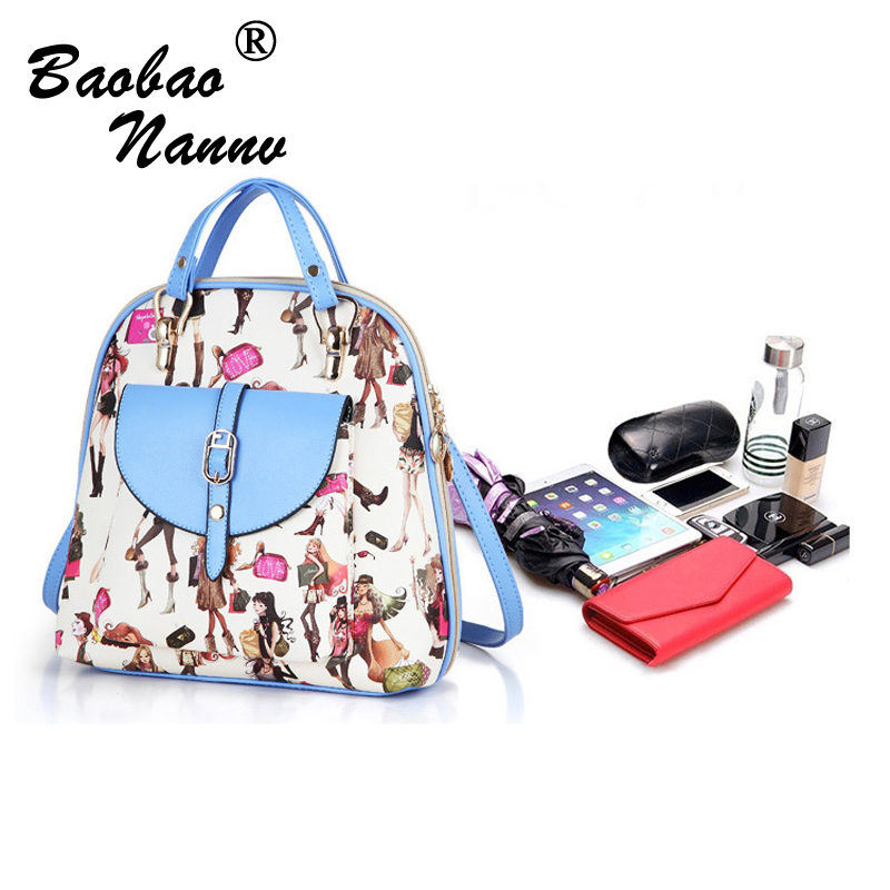 Women Backpack High Quality PU Leather School Bags Character For Teenagers Girls Top handle Backpacks Herald