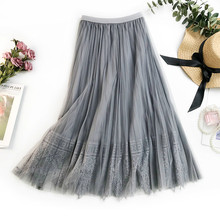 AcFirst Spring Pink Gray Sexy Women Skirts High Waist Pleated Ankle-Length Long Mesh Clothing Lace A-Line