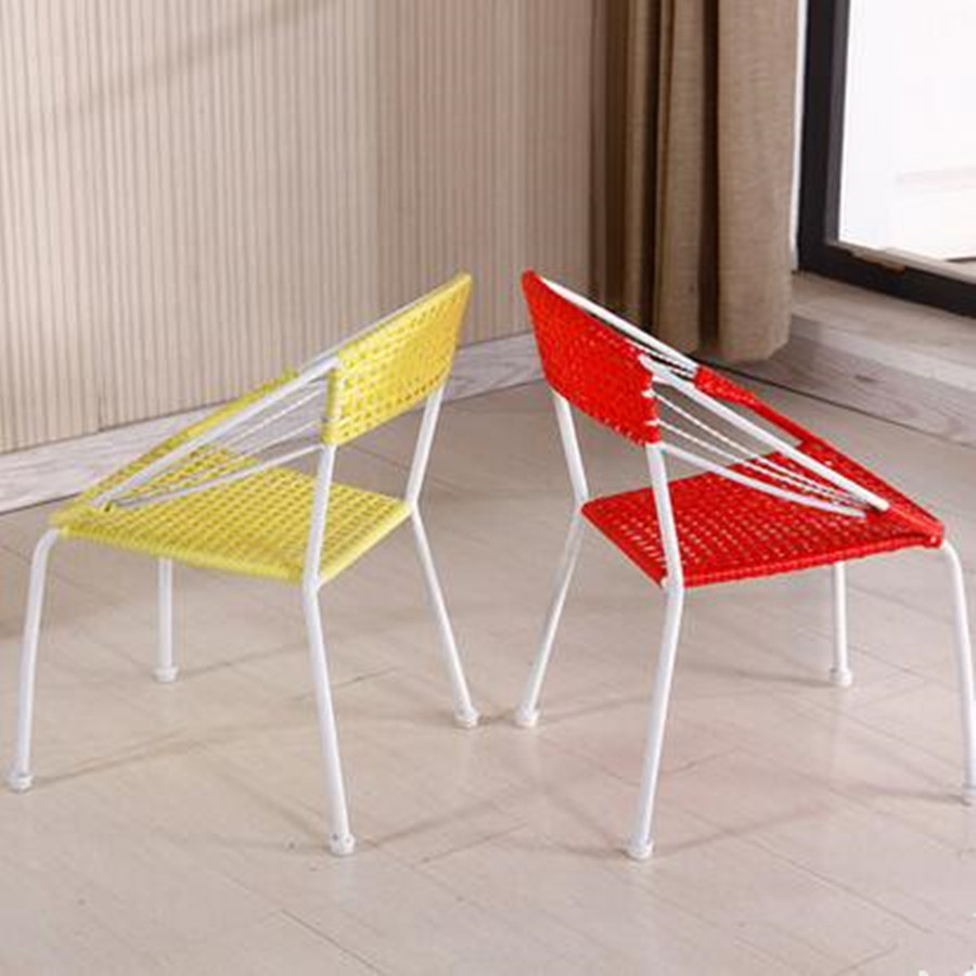 ... Pastoral Fashion Simple Small Rattan Chair Backrest Garden Balcony  Single Student Home Dining Chair ...