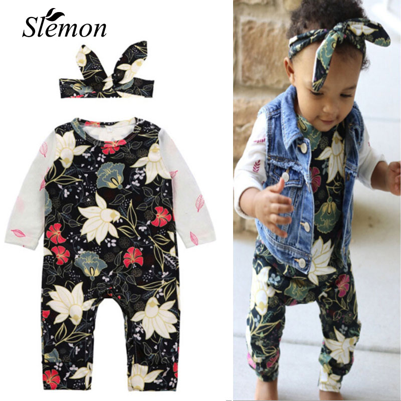 Baby Long Sleeve Rompers 2018 Infant New Spring Autumn Floral Romper + Turban Headdress 2Pcs Cotton Clothes for Unisex Baby Born spring autumn baby cotton knit rompers baby girl long sleeve knitted overalls infant girl floral embriodery bebes infant clothes