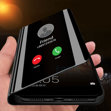 Smart Mirror Flip Caso  Stand  di vibration In Piedi Per Case For Samsung Galaxy S10 S9 S8 A8 Plus Note 9 8 S10e M20 M30 A40 J8 caso m20 easy black