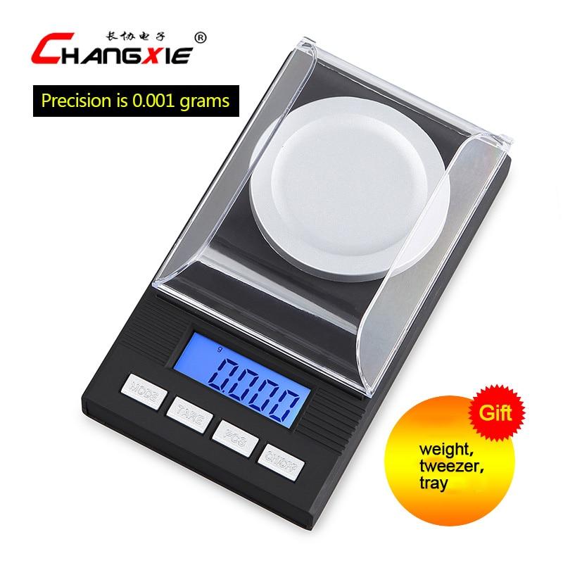 20g / 0.001g LCD balanza electrónica digital Balanza de laboratorio Herramientas de medición de peso de alta precisión Escala médica Escalas de joyería