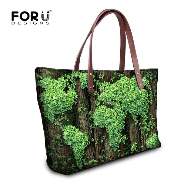 FORUDESIGNS Green Leaf Printed Tote Bags Large Capacity Shoulder Bag  Handbags for Women Casual Lady Top 02d735589c723