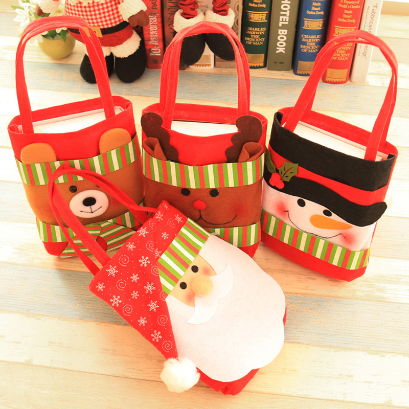 1 Pcs Merry Christmas Gift Treat Candy Wine Bottle Bag