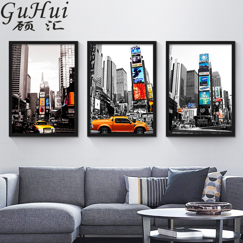 Aliexpress Com Buy 3 Pieces Wall Art New York City: America New York City Street View Yellow Taxi Canvas
