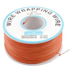 Orange 0 5mm 30awg wire wrapping wrap flexible insulation tin plated jumper cable 1000ft pcb solder.jpg 250x250