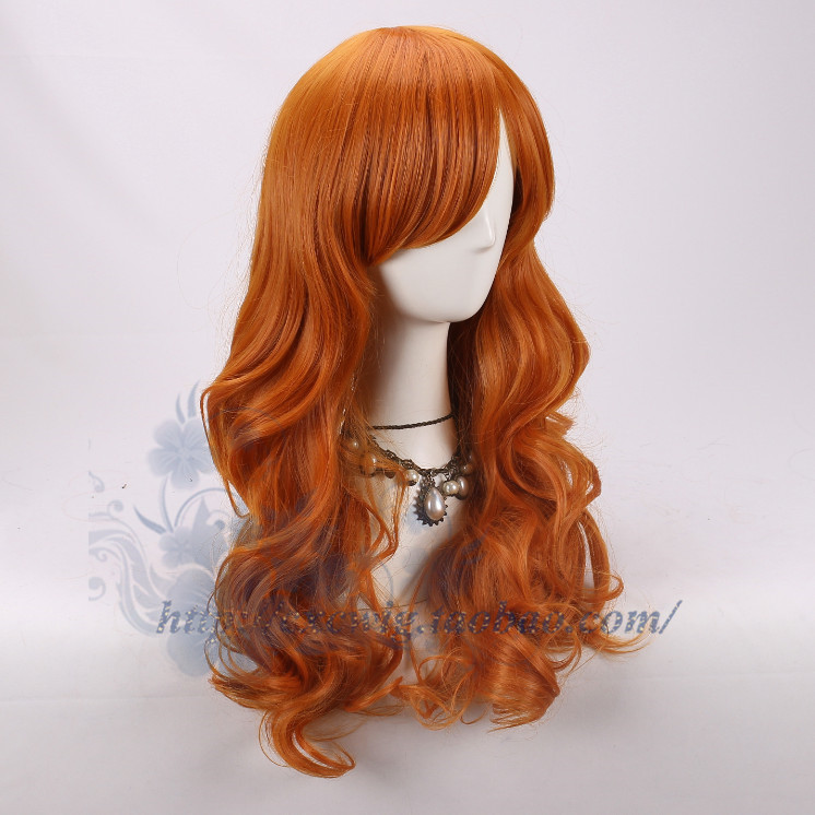 Adult One Piece Nami Wig Orange Curly Synthetic Hair Body Wave Hair Cosplay For Adult Halloween