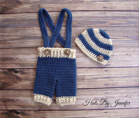 Free Shipping Crochet Newborn Outfit Crochet Beanie Suspenders