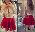 Pearls Beading Lace Full Long Sleeves Nude Tulle Back Sexy Party Dress A Line Red Lace Cocktail Dress Vestido De Curto 2015