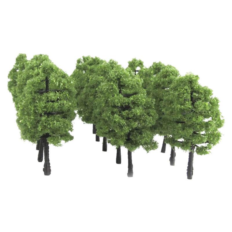 Modelo de trem de plástico artificial, árvore em miniatura, cenário ferroviário, decoração, construção, paisagem, acessórios, brinquedos para crianças, 20 peças