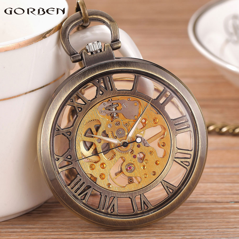 цена Bronze Black Fashion Men Vintage Hand Wind Pocket Watch Transparent Roman Number Antique Cool Mechanical Pocket Watch With Chain