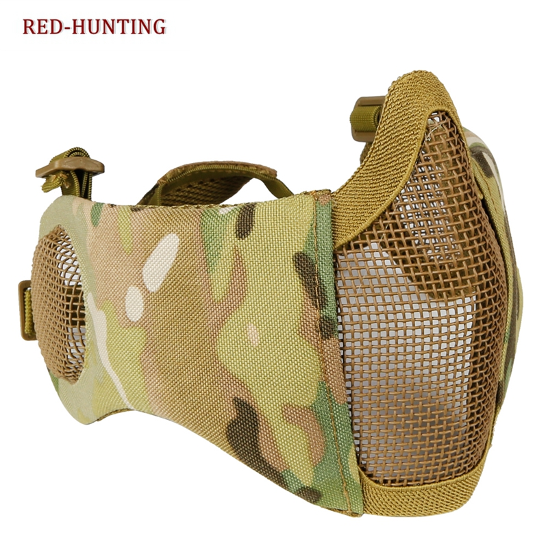 Tactical Foldable Mesh Mask With Ear Protection For Airsoft Paintball With Adjustable Elastic Belt Strap Paintball Accessories