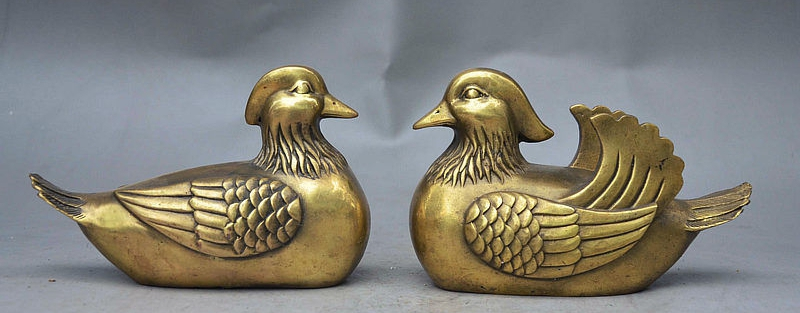 5 China FengShui Brass Auspicious Affectionate Couple Bird Mandarin Duck Statue5 China FengShui Brass Auspicious Affectionate Couple Bird Mandarin Duck Statue