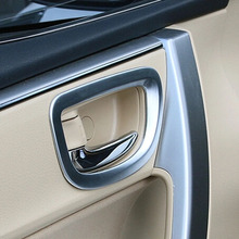 4pcs stainless steel Inside Interior Door Handle Bowl Cover Decoration Ring Trim Sticker For Toyota