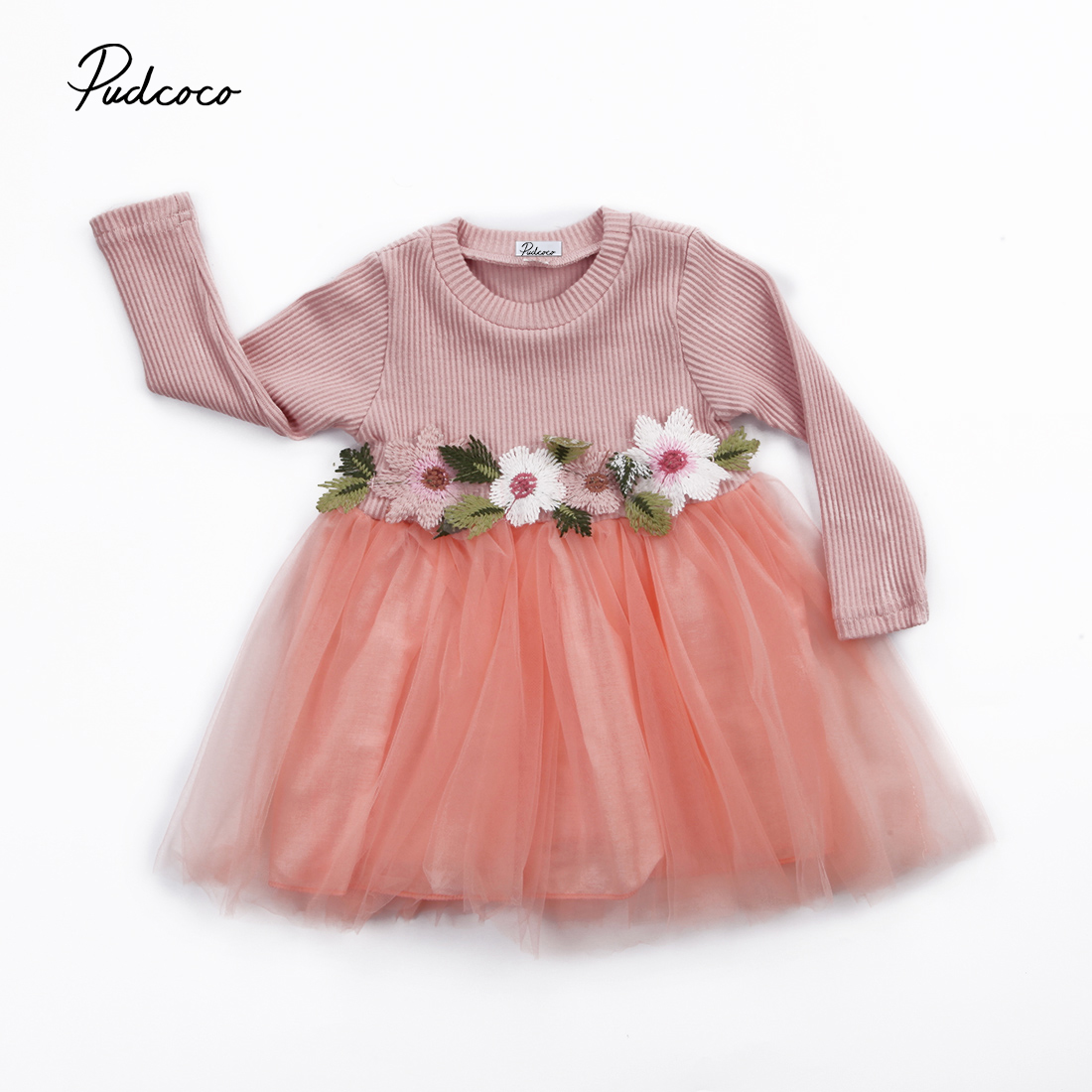 Pudcoco Toddler Lovely Baby Girls Long Sleeve Appliques Flower Lace Party Prom Tulle Princess Dresses toddler kids baby girls boho long foral princess party dress prom beach maxi sundress print lovely casual long sleeve dresses