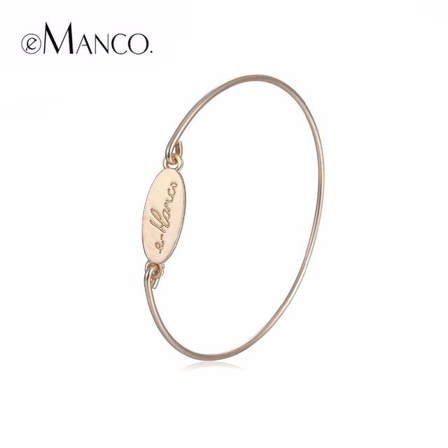 2017 eManco Fashion Simple Statement Alphabet ID Bangles & Bracelets for Women Gold Plated Jewelry & Accessories