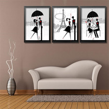 black silhouette red heart lovers couple picture for sitting room decor cartoon wall simple art canvas paintings HD2404