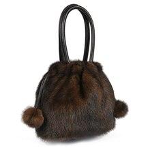 Frauen Winter Luxus Frauen Echten Nerz Pelz Eimer Tasche kleine Handtasche Handtasche Hohe Qualität Top Griff Tasche Party kupplung