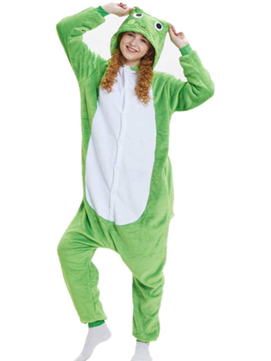 Unisex Adults Animal Kigurumi Kikker Onesie Pajamas Sleepwear Costumes Jumpsuit 2018 Free Shipping
